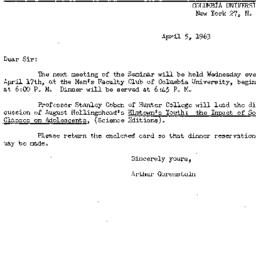 Announcements, 1963-04-05. ...