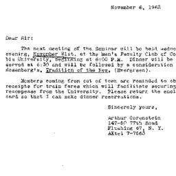 Announcements, 1962-11-06. ...