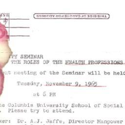 Announcements, 1965-11-09. ...