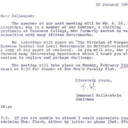 Announcements, 1962-01-30. ...