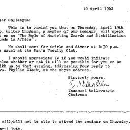 Announcements, 1962-04-10. ...