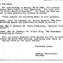 Announcements, 1962-03-26. ...