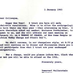 Announcements, 1963-01-01. ...
