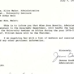 Correspondence, 1971-07-07....