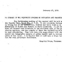 Announcements, 1950-02-27. ...