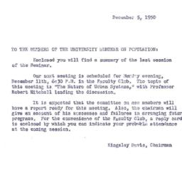 Announcements, 1950-12-05. ...