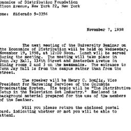 Announcements, 1958-11-07. ...