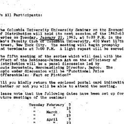 Announcements, 1963-01-11. ...