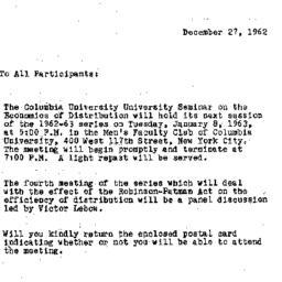 Announcements, 1962-12-27. ...