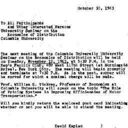 Announcements, 1963-10-30. ...