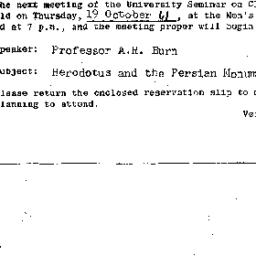 Announcements, 1961-10-19. ...