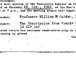Announcements, 1962-10-18. ...
