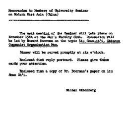 Announcements, 1961-11-09. ...