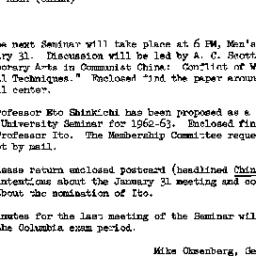 Announcements, 1962-01-31. ...