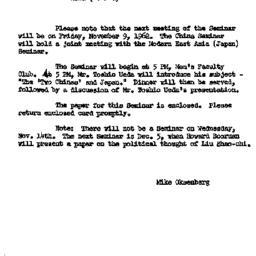 Announcements, 1962-11-09. ...