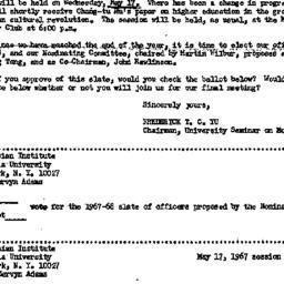 Announcements, 1967-05-10. ...