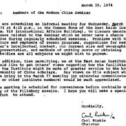 Announcements, 1974-03-15. ...