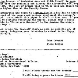 Announcements, 1974-10-11. ...