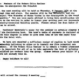 Announcements, 1974-12-19. ...