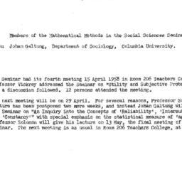Announcements, 1958-04-23. ...