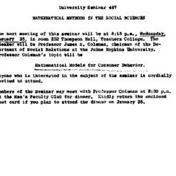 Announcements, 1961-01-11. ...