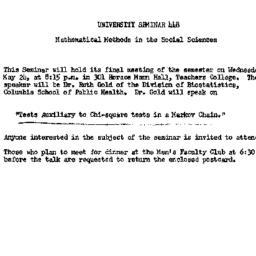 Announcements, 1961-05-15. ...
