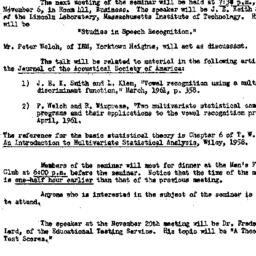Announcements, 1961-10-27. ...