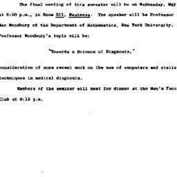 Announcements, 1963-04-29. ...