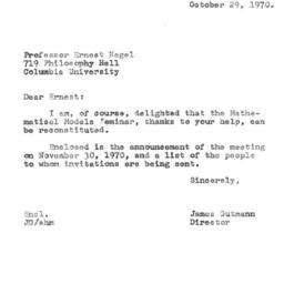 Correspondence, 1970-10-29....
