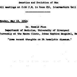 Announcements, 1962-05-14. ...