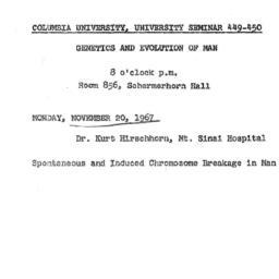 Announcements, 1967-11-20. ...