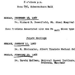 Announcements, 1967-12-18. ...