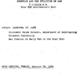 Announcements, 1968-12-16. ...