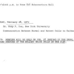 Announcements, 1972-02-28. ...