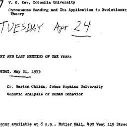 Announcements, 1973-04-24. ...