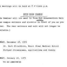 Announcements, 1972-12-18. ...