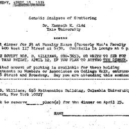Announcements, 1974-04-15. ...