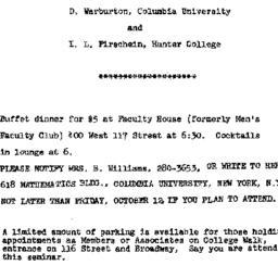 Announcements, 1973-10-15. ...