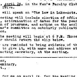 Announcements, 1970-04-24. ...