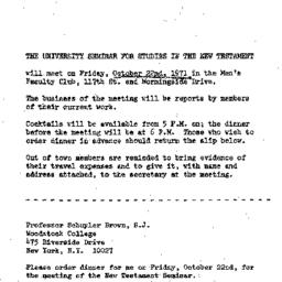 Announcements, 1971-10-22. ...
