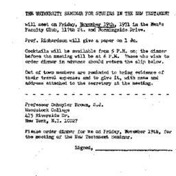 Announcements, 1971-11-19. ...