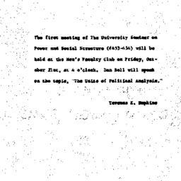 Announcements, 1960-10-21. ...