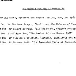 Announcements, 1961-10-04. ...