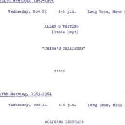 Announcements, 1963-11-27. ...