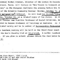 Announcements, 1971-10-01. ...