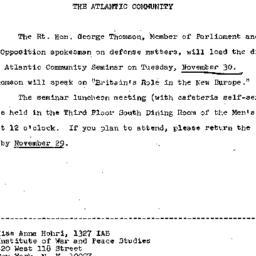 Announcements, 1971-11-18. ...