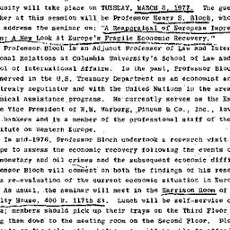 Announcements, 1977-03-08. ...