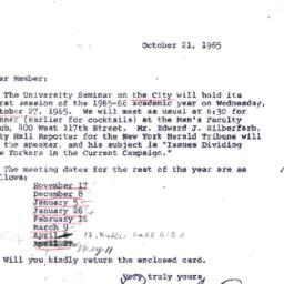 Announcements, 1965-10-21. ...