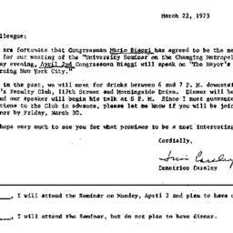 Announcements, 1973-03-22. ...
