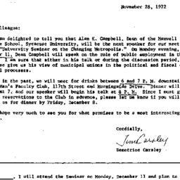 Announcements, 1972-11-28. ...